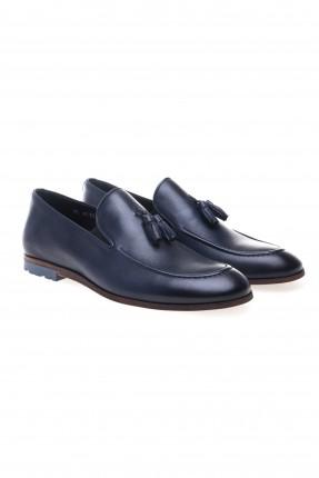 حذاء رجالي جلد مزين قطع شرشبة سبور شيك - ازرق داكن