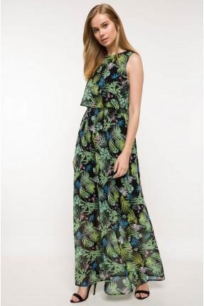 فستان سبور منقش زخرفة - اسود