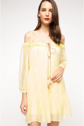 فستان سبور عاري الاكتاف - اصفر