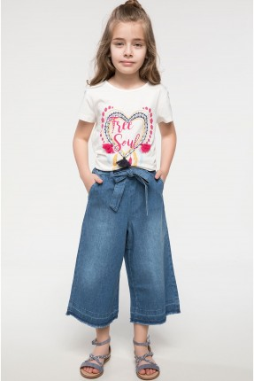 بنطال اطفال بناتي عريض جينز - ازرق