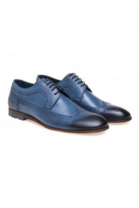 حذاء رجالي جلد مفرغ مع رباط سبور شيك - ازرق