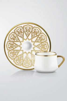 طقم قهوة 6 اشخاص مع كاسات ماء - مزخرف ذهبي