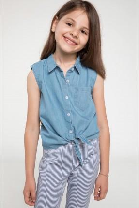 قميص اطفال بناتي جينز  مع جيب - ازرق