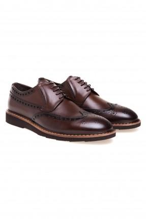 حذاء رجالي جلد مفرغ مع رباط سبور سيك - بني