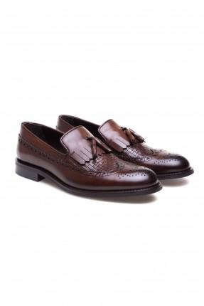 حذاء رجالي جلد مقسم مفرغ سبور شيك - بني