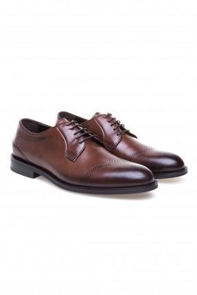 حذاء رجالي منقط من الامام كلاسيكي - بني