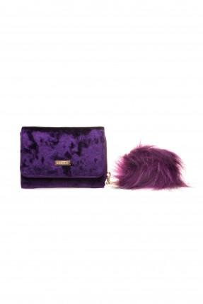 حقيبة يد نسائية صغيرة مع غطاء كلاسيكية - بنفسجي