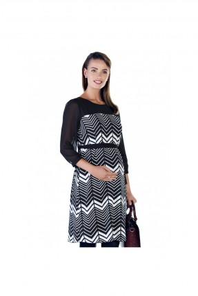 فستان حمل سبور كم طويل - اسود