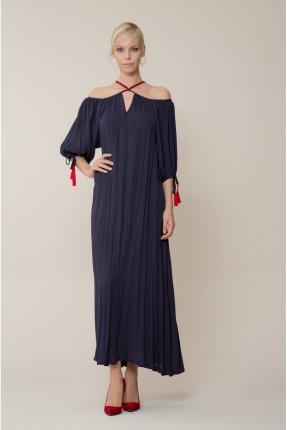 فستان سبور عاري الاكتاف - ازرق داكن