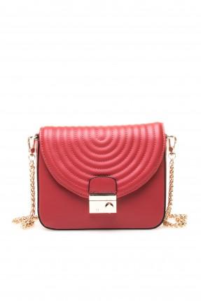 حقيبة يد نسائية بحزام معدن وغطاء مبطن - احمر