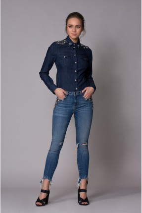 بنطال نسائي جينز مع شقوق