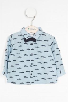 قميص بيبي ولادي منقش - ازرق