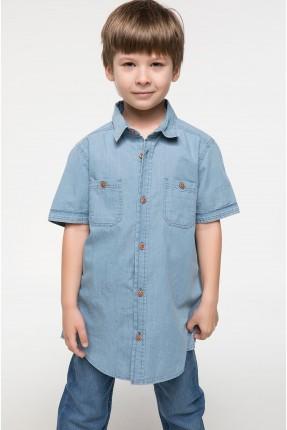 قميص اطفال ولادي جينز - ازرق