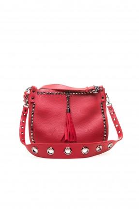 حقيبة يد نسائية مزينة حلقات معدن سبور - احمر