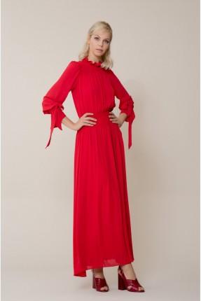 فستان سبور مع ربطة على الاكمام - احمر