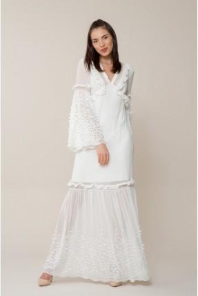 فستان رسمي بياقة V منقش - ابيض