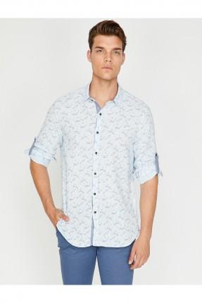 قميص رجالي منقوش سبور - ازرق