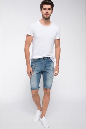 برمودا جينز رجالي مع جيوب - ازرق