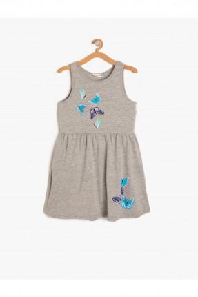 فستان اطفال بناتي حفر مطبوع فراشة - رمادي