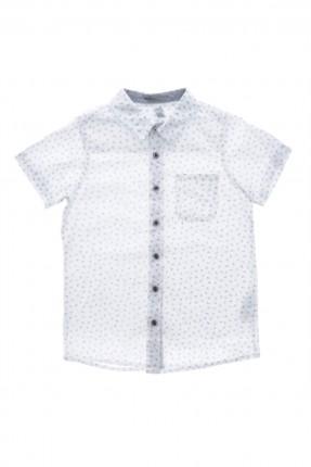 قميص اطفال ولادي منقش - ابيض