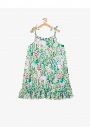 فستان اطفال بناتي منقوش حفر - اخضر