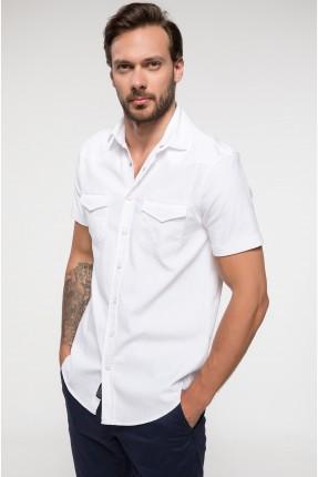 قميص رجالي مع جيوب - ابيض