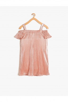 فستان اطفال بناتي باكتاف منخفضة - زهري