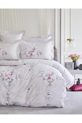 طقم غطاء سرير مزدوج منقوش ورد