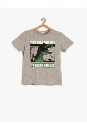 تيشرت اطفال ولادي مطبوع ديناصور - رمادي