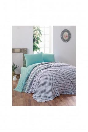 طقم بطانية سرير مزدوج منقش