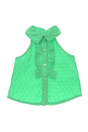 قميص اطفال بناتي بدون اكمام مع كشكش - اخضر