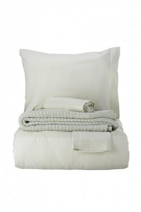 طقم غطاء سرير مزدوج مع بطانية سادة