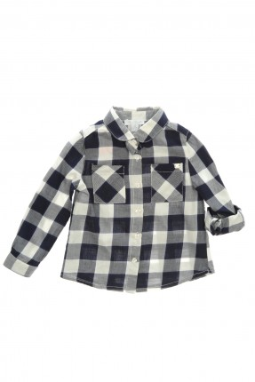 قميص اطفال بناتي كارو مع جيوب