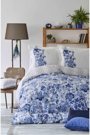 طقم بطانية سرير مزدوج منقوش ازهار - ازرق