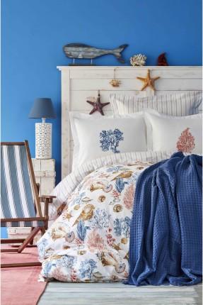 طقم غطاء سرير مع بطانية مزدوج منقوش صدف البحر