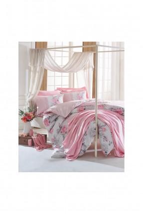 طقم غطاء سرير مع بطانية مزدوج مورد - وردي