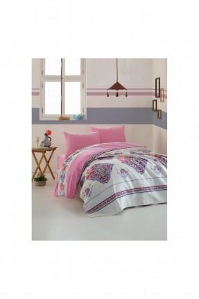 طقم بطانية سرير مزدوج منقش - وردي