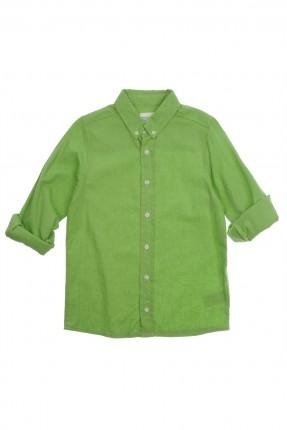 قميص اطفال ولادي كتان - اخضر