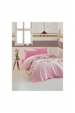 طقم بطانية سرير فردي منقش ورد - وردي