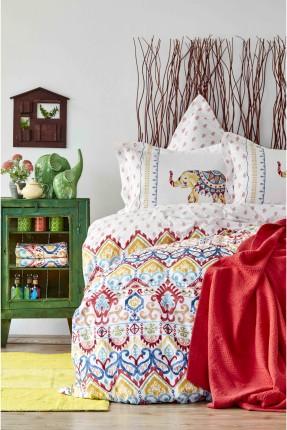 طقم سرير مزدوج منقوش زخرفة ملونة