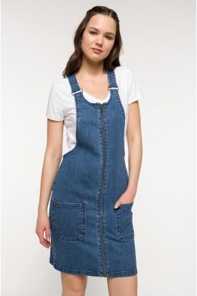 فستان سبور جينز سحاب مع جيوب