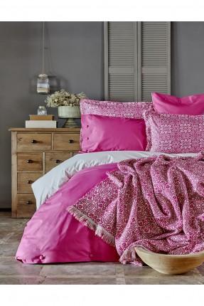 طقم غطاء سرير مزدوج مع بطانية - فوشيا