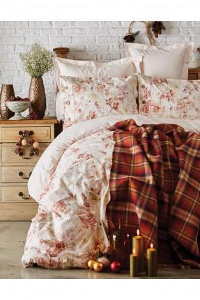 طقم غطاء سرير مزدوج منقوش مع بطانية جاكار
