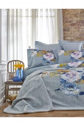 طقم غطاء سرير مزدوج مع بطانية منقوش ورود