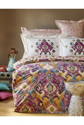 طقم غطاء سرير مزدوج منقوش زخرفة ملونة