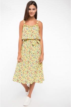 فستان سبور منقش منقش - اصفر