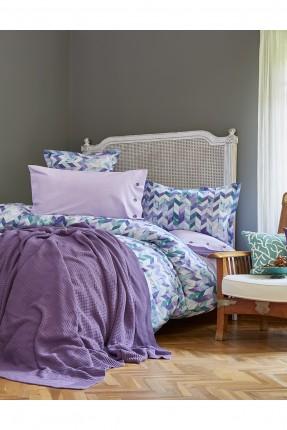 طقم غطاء سرير مزدوج مع بطانية منقوش - بنفسجي
