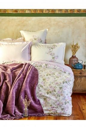 طقم غطاء سرير مزدوج مع بطانية مورد