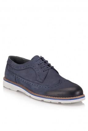 حذاء رجالي منقط تفريغة برباط - ازرق داكن