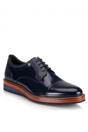 حذاء رجالي جلد لامع برباط رسمي - ازرق داكن